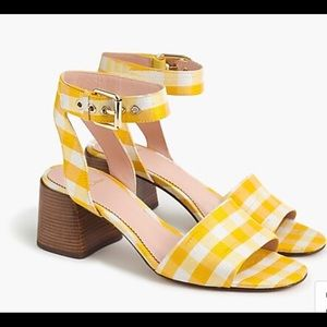 NWT j.crew yellow wide strap penny sandals